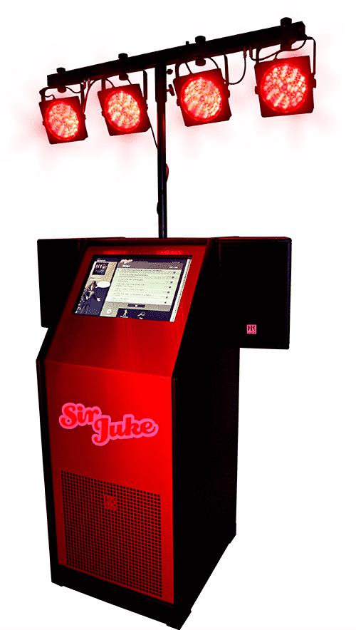 Jukeboxen Sir Juke med lys i rødt skær